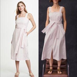 NWT Vince Belted Wide Strap Linen Dress Pink